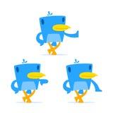 Set of funny cartoon blue bird royalty free illustration