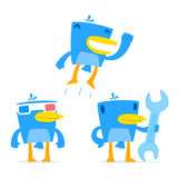 Set of funny cartoon blue bird. In various poses Royalty Free Stock Photo