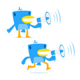 Set of funny cartoon blue bird. In various poses Stock Images