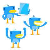 Set of funny cartoon blue bird. In various poses Stock Photos
