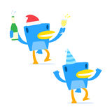 Set of funny cartoon blue bird. In various poses Royalty Free Stock Photos
