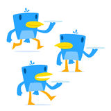 Set of funny cartoon blue bird. In various poses Royalty Free Stock Image