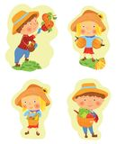 Set of funny cartoon boy and girl harvesting Stock Photos