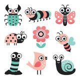 Set of funny cartoon bugs and garden elements-blush pink mint stock illustration