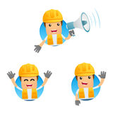 Set of funny cartoon builder. In various poses for use in presentations, etc Stock Photography