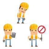 Set of funny cartoon builder Royalty Free Stock Image