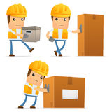 Set of funny cartoon builder Stock Image