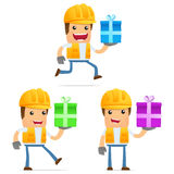 Set of funny cartoon builder Stock Photos
