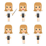 Set of funny cartoon business women. In various poses for use in presentations, etc Stock Photo