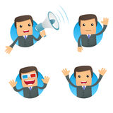 Set of funny cartoon businessman. In various poses for use in presentations, etc Stock Images