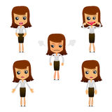 Set of funny cartoon businesswoman. In various poses for use in presentations, etc Stock Images