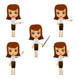 Set of funny cartoon businesswoman Royalty Free Stock Image