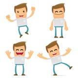 Set of funny cartoon casual man Stock Photos