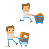 Set of funny cartoon casual man Stock Images