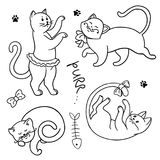 Set of funny cartoon cats. hands painted kittens. Set of funny cartoon cats. Clipart. hands painted kittens. Vector illustration Royalty Free Stock Images