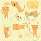 Set of funny cartoon cats. Royalty Free Stock Photo