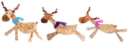 Set of funny cartoon christmas deers in colorful scarves. watercolor illustration for prints and posters