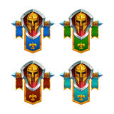 Set of funny cartoon colored coat of arms isolated on white background. Vector illustration Royalty Free Stock Photo