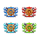Set of funny cartoon colored coat of arms isolated on white background. Vector illustration Royalty Free Stock Photos