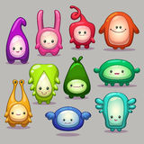 Set of funny cartoon colorful monsters Royalty Free Stock Photos