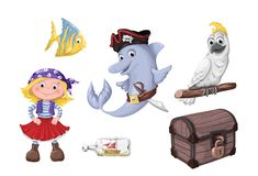 Set of funny cartoon cute children of pirates and sea inhabitants. Vector illustration Stock Photos
