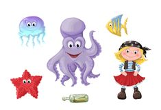 Set of funny cartoon cute children of pirates and sea inhabitants. Vector illustration Royalty Free Stock Images