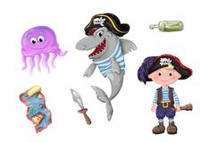 Set of funny cartoon cute children of pirates and sea inhabitants. Vector illustration Stock Image