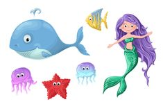 A set of funny cartoon cute nautical inhabitants - a mermaid, a whale, a fish, a starfish and jellyfish. Royalty Free Stock Photography
