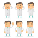 Set of funny cartoon doctor Stock Photography