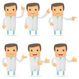 Set of funny cartoon doctor. In various poses for use in presentations, etc Stock Photos