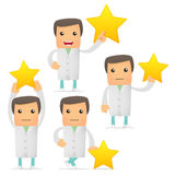 Set of funny cartoon doctor Royalty Free Stock Image