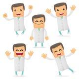 Set of funny cartoon doctor Stock Image