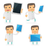 Set of funny cartoon doctor Stock Images