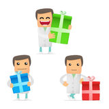 Set of funny cartoon doctor Stock Photos