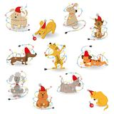 Set of funny cartoon dogs with christmas garlands on white background. vector illustration