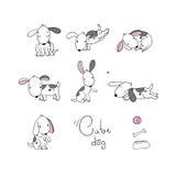 Set of funny cartoon dogs. vector illustration