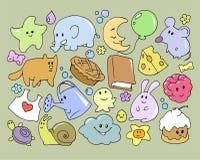 Set of funny cartoon doodle illustrations Royalty Free Stock Photos