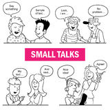 Set of Funny Cartoon Doodle People. Small Talks Situations. Black and White Sketches with Talking People. You Can Fill Dialogs Speech Bubbles over People's stock illustration