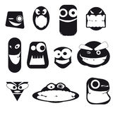 Set of funny cartoon faces, different emotions,  on white Stock Photography