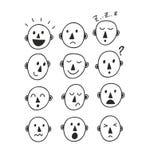 Set of funny cartoon faces. Stock Photos