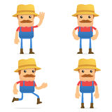 Set of funny cartoon farmer. In various poses for use in presentations, etc Stock Photography