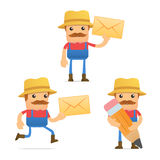 Set of funny cartoon farmer Stock Image