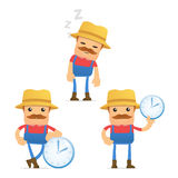 Set of funny cartoon farmer Stock Photo