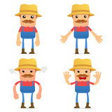 Set of funny cartoon farmer Stock Photography