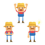Set of funny cartoon farmer Royalty Free Stock Photos