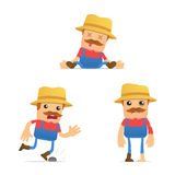 Set of funny cartoon farmer Stock Image