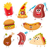 Set of funny cartoon fast food characters. Set of funny fast food characters - pizza, French fries, burger, hot dog, steak, bacon, sandwich and chicken leg Royalty Free Stock Photo