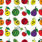 Set of 10 funny cartoon fruit Royalty Free Stock Photography
