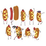 Set of funny cartoon hot dog character in action. Fast food concept. Flat vector illustration Stock Photography