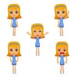 Set of funny cartoon housewife Stock Photos